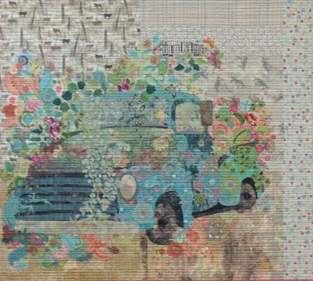 Old Blue Vintage Truck Collage Quilt Pattern