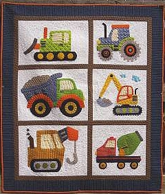 Love Dirt Applique Quilt Pattern (Construction Vehicles) : construction quilt - Adamdwight.com
