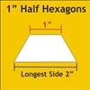 1 Inch Half Hexagon Papers - 75 Papers