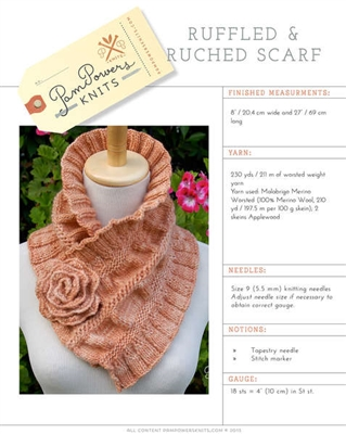 Ruffled & Ruched Scarf Knitting Pattern