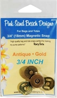 Magnetic Purse Snap Antique Gold 3/4 inch by Pink Sand Beach Designs
