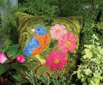 Revive the lost art of rug hooking with this modern bluebird pillow pattern, and enjoy a stunning seasonal home accent.