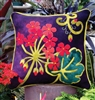 Gorgeous designer Geranium Wool applique pillow pattern crafted in buttery soft, hand dyed wool in vibrant color.