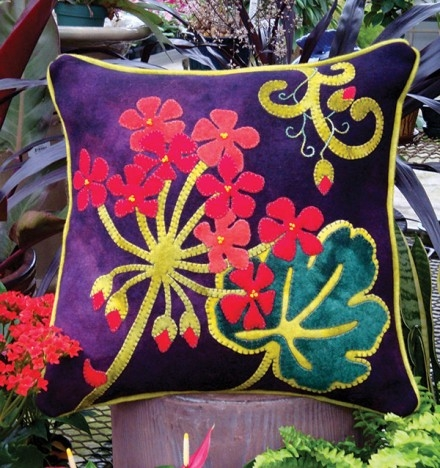 Stunning Summer Jewel Toned Geranium Wool Applique Design