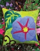 Gorgeous Morning Glory pillow  beautifully designed wool applique, crafted in buttery soft, hand dyed wool in vibrant color.