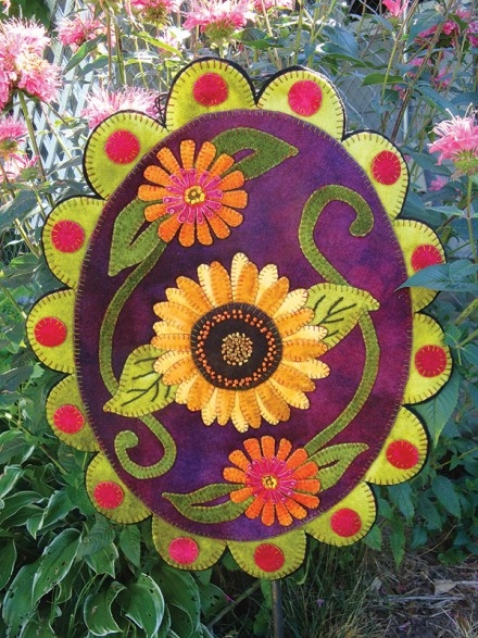 Summer Sunflower Amp Zinnias Wool Applique Design Pattern