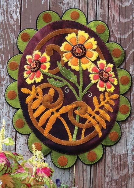 Summer Sunflower Amp Zinnias Wool Applique Design Pattern