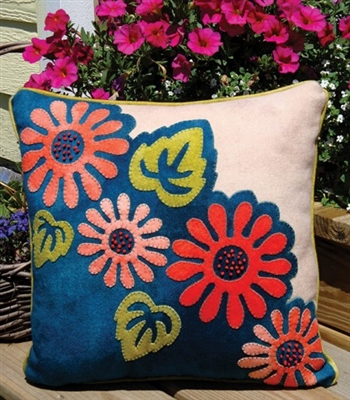 Gorgeous designer Pop Art Posies wool applique pillow pattern crafted in buttery soft, hand dyed wool in vibrant color.