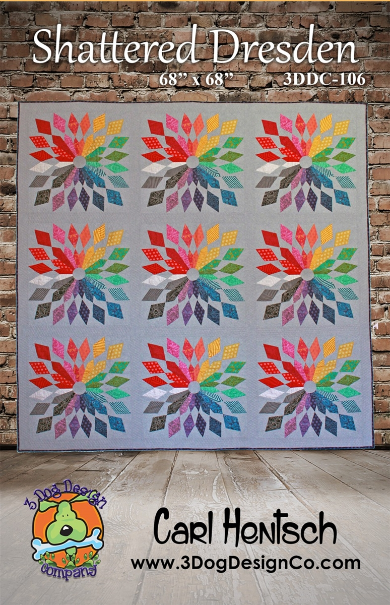 "New Pieced Quilt Pattern  SHATTERED DRESDEN  68/"" x 68/"""