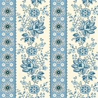 Perfect Union A-9578-B Floral Stripe in Blue Bell by Edyta Sitar