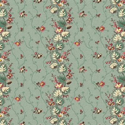 Anne's English Scrapbox Floral Stripe Teal