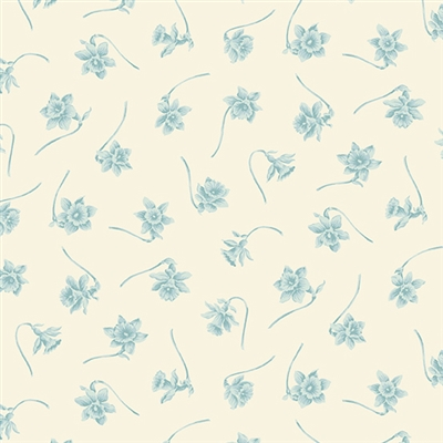 Bluebird: Paper Whites in Ice Cave blue on cream by Laundry Basket Quilt