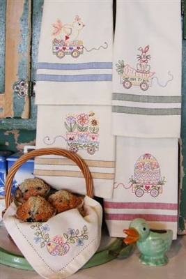 Easter Tea Towels MACHINE Embroidery Quilt from Bird Brain Designs