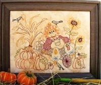 Scarecrow in Wheelbarrow Stitchery Pattern by Birdbrain Designs