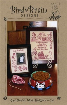Cats Perfect World Embroidery Redwork Pattern from Bird Brain Designs
