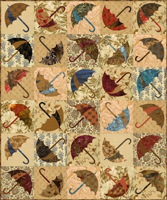 Dancing Umbrellas Quilt Pattern with stencil