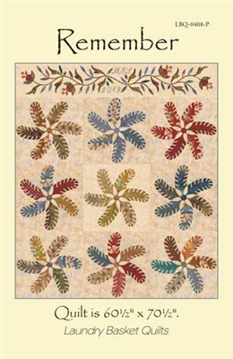 Remember Appplique Quilt Pattern & Feather Template