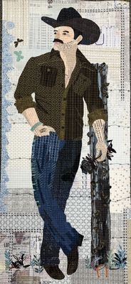 Yes Ma'am Cowboy Collage Pattern by Laura Heine