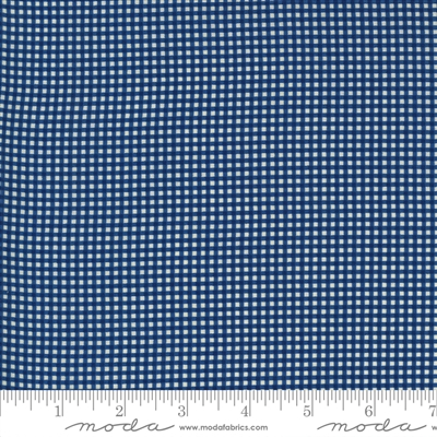 Ladies Legacy:  Lauras Pillow Cases Check in Union Blue  by Barbara Brackman