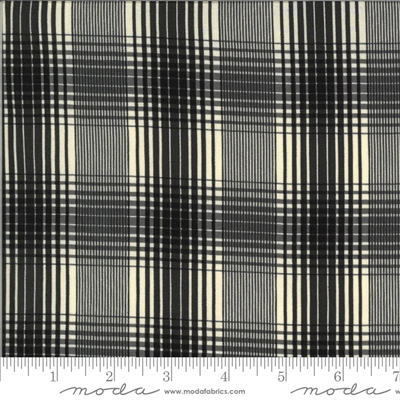 Elinores Endeavor: Scotch Plaid in Ink Black on Cream