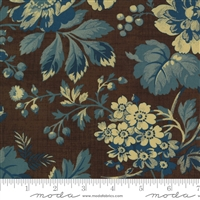 Maria's Sky Floral in  Chocolate Brown & Blue by Betsy Chutchian for Moda