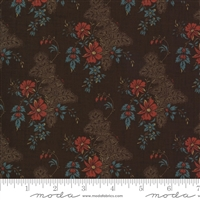 Maria's Sky Floral in Chocolate Brown with Red by Betsy Chutchian for Moda