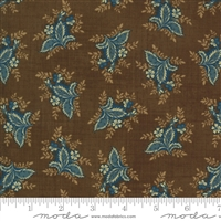 Maria's Sky Leaves in Chestnut Brown with Blue  by Betsy Chutchian for Moda