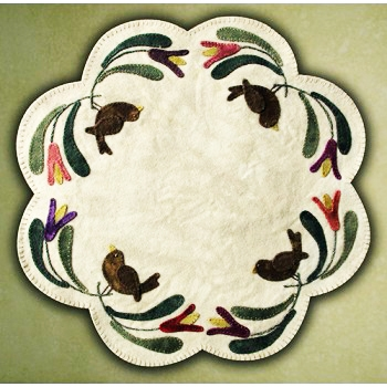 Birds of A Feather Table Mat Wool Applique