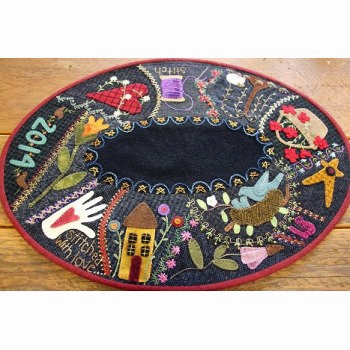 Everyday Crazy Embroidered Table Mat Wool Applique Quilt