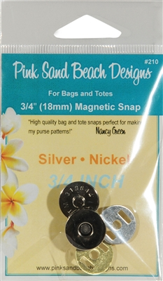 Magnetic Purse Snap Silver Nickel 3/4 inch by Pink Sand Beach Designs