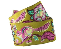 Renaissance Ribbons:  1 1/2in Ribbon Pink andaqua on Green Chipmunk