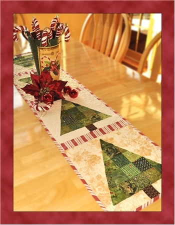 Christmas Quilt Patterns.Patchwork Christmas Tree Table Runner Quilt Pattern By Shabby Fabrics