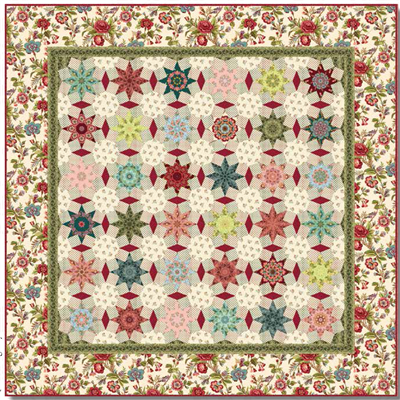 Tarrytown Chintz Stars & Octagons Quilt Kit Cream by MIchelle Yeo