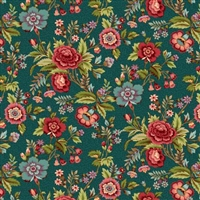 Tarrytown Chintz Teal by MIchelle Yeo