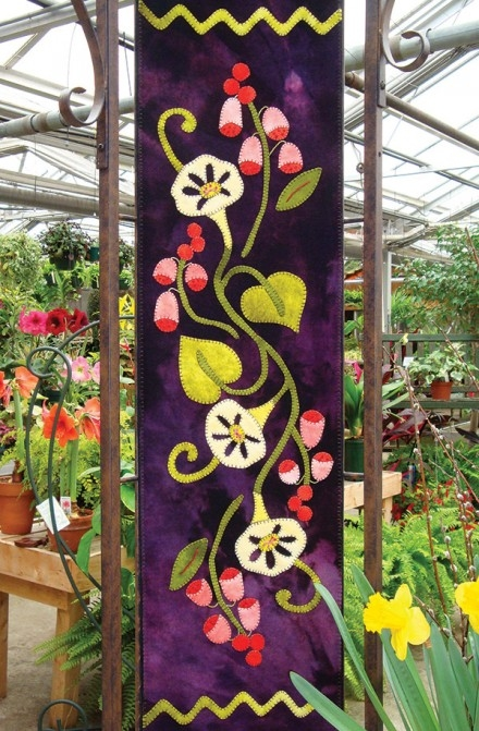 Fox Gloves Amp Morning Glories Wool Applique Runner Quilt