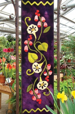 Fox Gloves & Morning Glory Table Runner or Wall Hanging Applique Quilt Pattern