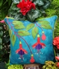 Fuschia Fancy Wool Applique Throw Pillow PATTERN