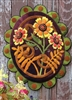 Sunflower framed by Zinnias in Seasonal Accent  wool applique wall hanging or penny rug pattern, handsomely crafted in buttery soft, hand dyed wool in vibrant color.