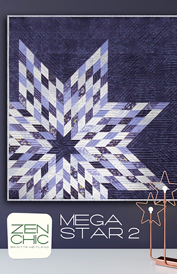 Jelly roll Friendly Mega Star 2 by Zen Chic Quilt Pattern for 49 x 49 Finished Graphic Modern Lone Star